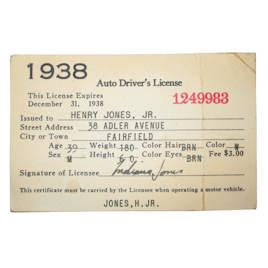 1930s Drivers License